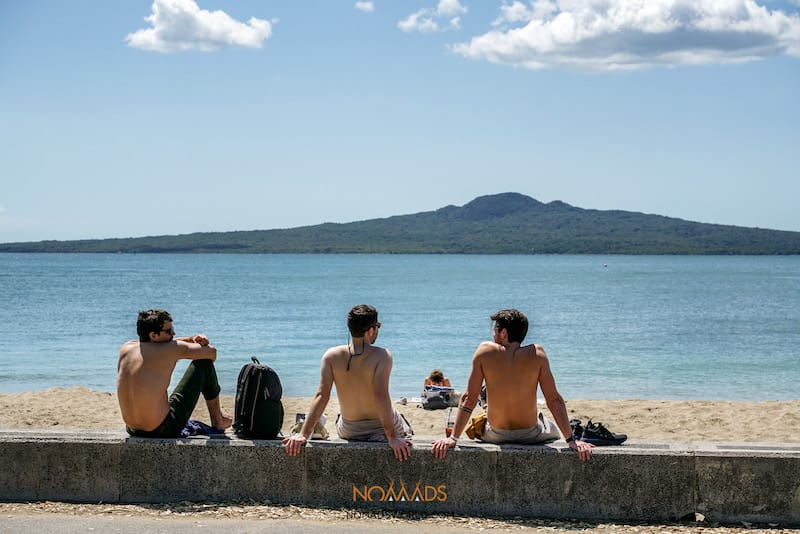 rangitoto island from mission bay beach
