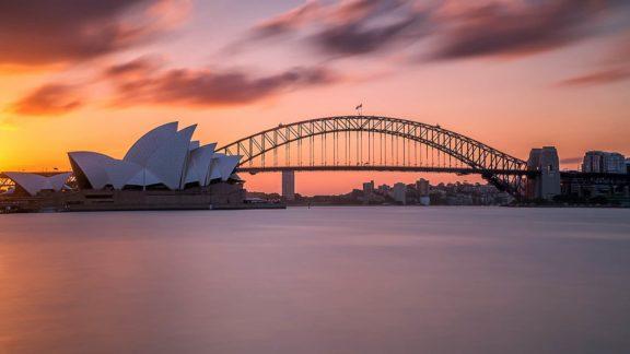 australian sunsets sydney harbour bridge